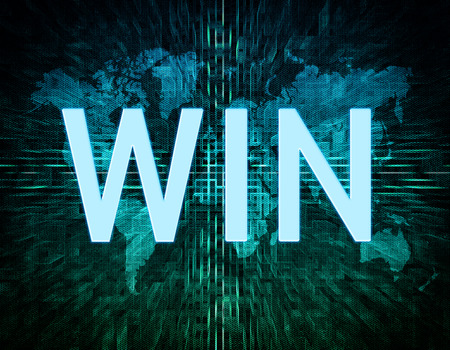 Win text concept on green digital world map background  photo