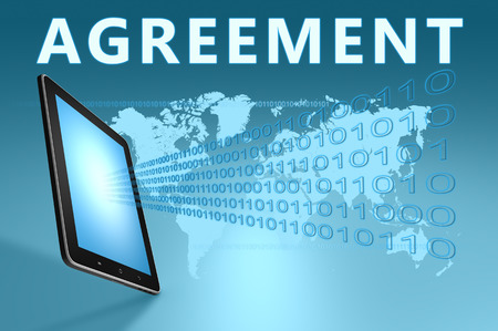 concur: Agreement illustration with tablet computer on blue background Stock Photo