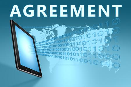Agreement illustration with tablet computer on blue background Reklamní fotografie - 29899765