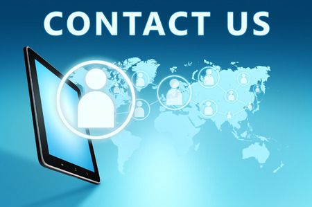 Contact us illustration with tablet computer on blue background illustration