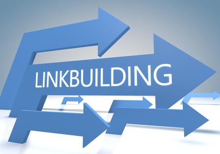 linkbuilding: Linkbuilding 3d render concept with blue arrows on a bluegrey background. Stock Photo