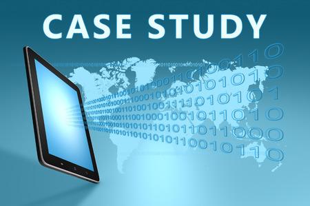 case studies: Case Study illustration with tablet computer on blue background