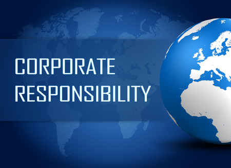 Corporate Responsibility concept with globe on blue world map background photo
