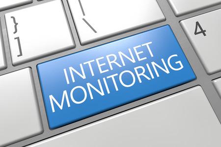 Internet Monitoring - keyboard 3d render illustration with word on blue key illustration