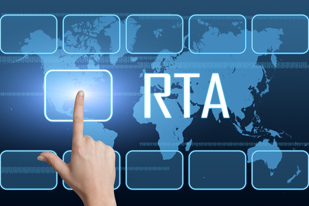 online bidding: RTA - Real Time Advertising concept with interface and world map on blue background Stock Photo