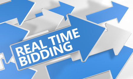 bidding: Real Time Bidding 3d render concept with blue and white arrows flying over a white background.