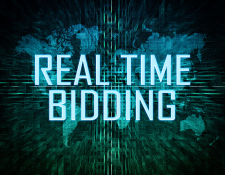 bidding: Real Time Bidding text concept on green digital world map background