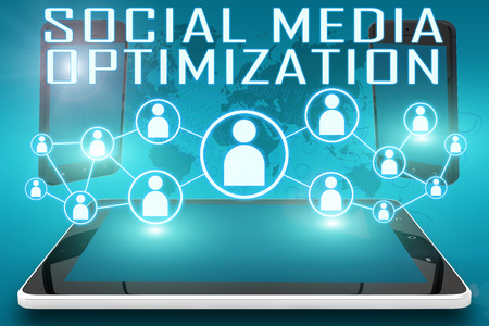 smo: Social Media Optimization - text illustration with social icons and tablet computer and mobile cellphones on cyan digital world map background