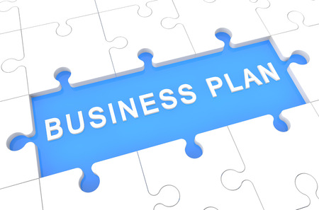 Business Plan - puzzle 3d render illustration with word on blue background illustration