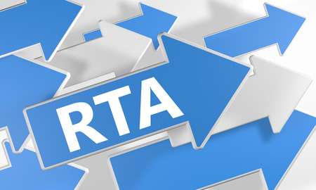 online bidding: RTA - Real Time Advertising 3d render concept with blue and white arrows flying over a white background.