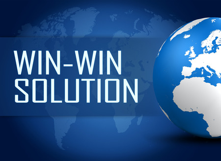 Win-Win Solution concept with globe on blue background photo
