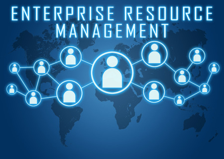 Enterprise Resource Management concept on blue background with world map and social icons.