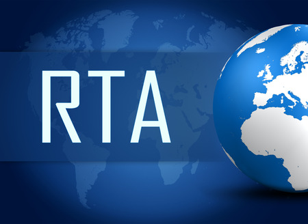 rta: RTA - Real Time Advertising concept with globe on blue background