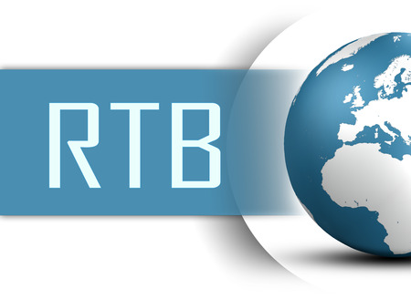 bidding: RTB - Real Time Bidding concept with globe on white background Stock Photo