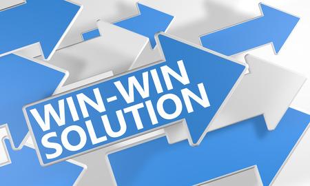 Win-Win のソリューション 3 d は青と白の矢印が白い背景の上を飛んでで概念をレンダリングします。 写真素材