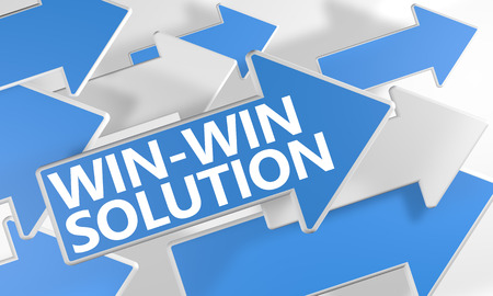 Win-Win Solution 3d render concept with blue and white arrows flying over a white background. Foto de archivo