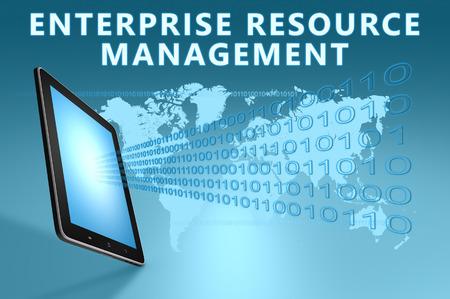 erm: Enterprise Resource Management illustration with tablet computer on blue background