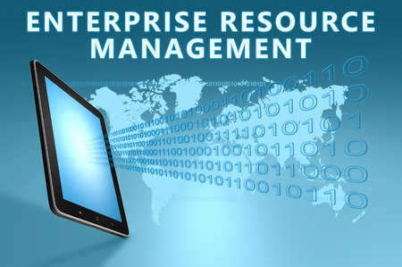 Enterprise Resource Management illustration with tablet computer on blue background