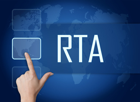 rta: RTA - Real Time Advertising concept with interface and world map on blue background Stock Photo