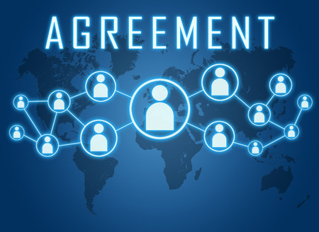 concur: Agreement concept on blue background with world map and social icons. Stock Photo
