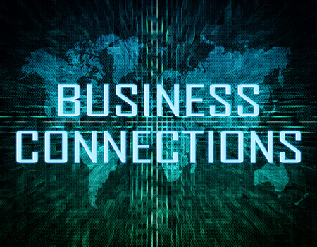 business connections: Business Connections text concept on green digital world map background