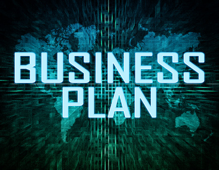 Business Plan text concept on green digital world map background  photo