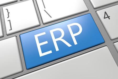 ERP - Enterprise Resource Planing - keyboard 3d render illustration with word on blue key illustration