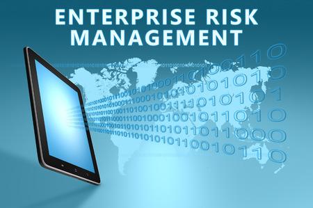 Enterprise Risk Management illustration with tablet computer on blue background