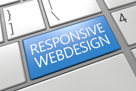 Responsive Webdesign - keyboard 3d render illustration with word on blue key illustration