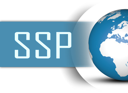 online bidding: SSP - Supply Side Platform concept with globe on white background Stock Photo