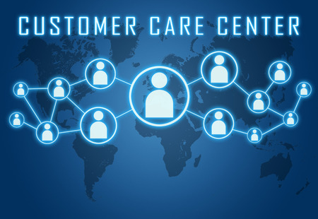 Customer Care Center concept on blue background with world map and social icons. photo