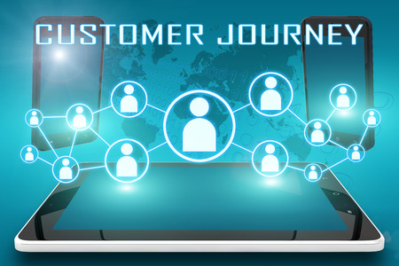 journey: Customer Journey - text illustration with social icons and tablet computer and mobile cellphones on cyan digital world map background
