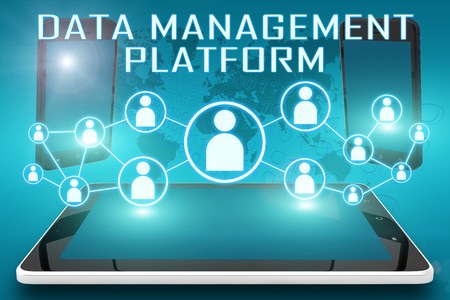 unify: Data Management Platform - text illustration with social icons and tablet computer and mobile cellphones on cyan digital world map background