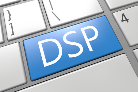 online bidding: DSP - Demand Side Platform - keyboard 3d render illustration with word on blue key Stock Photo