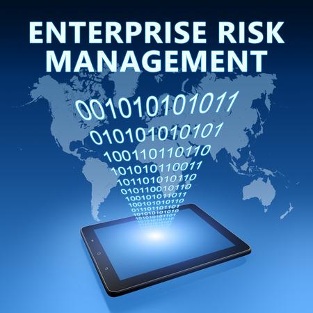 erm: Enterprise Risk Management illustration with tablet computer on blue background