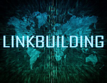 linkbuilding: Linkbuilding text concept on green digital world map background