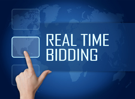 bidding: Real Time Bidding concept with interface and world map on blue background