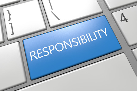 Responsibility - keyboard 3d render illustration with word on blue key illustration