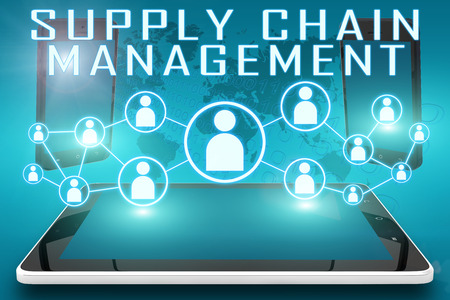 Supply Chain Management - text illustration with social icons and tablet computer and mobile cellphones on cyan digital world map background Stock Photo
