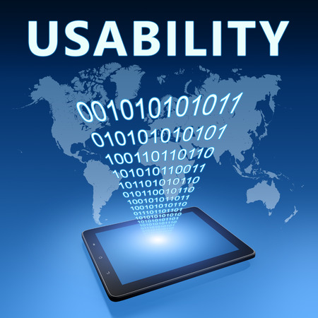 Usability illustration with tablet computer on blue background illustration