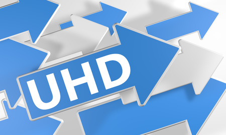 UHD - User Help Desk 3d render concept with blue and white arrows flying over a white background. photo