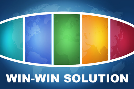 Win-Win Solution text illustration concept on blue background with colorful world map illustration