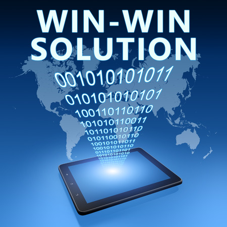 Win-Win Solution illustration with tablet computer on blue background illustration