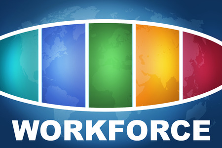 Workforce text illustration concept on blue background with colorful world map illustration