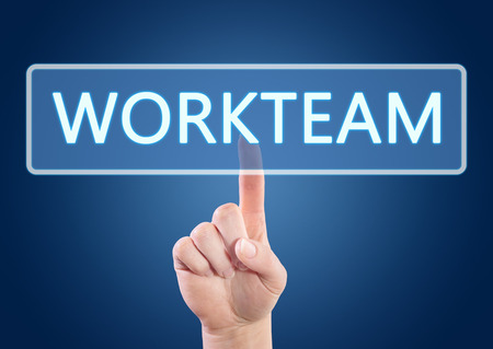 workteam: Hand pressing Workteam button on interface with blue background. Stock Photo
