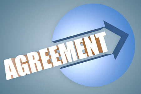 concur: Agreement - text 3d render illustration concept with a arrow in a circle on blue-grey background