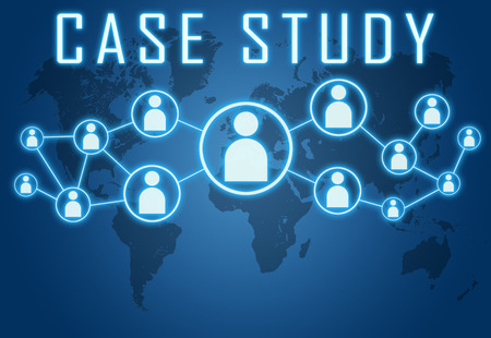 Case Study concept on blue background with world map and social icons. photo