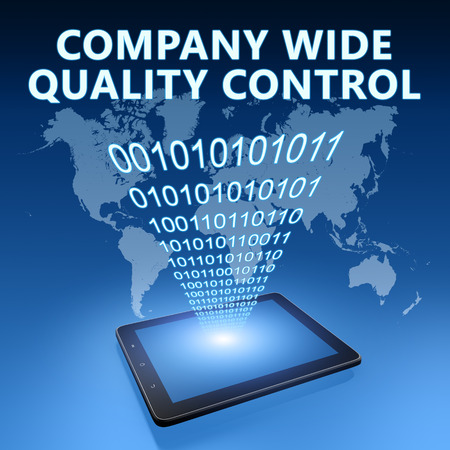 product design specification: Company Wide Quality Control illustration with tablet computer on blue background Stock Photo
