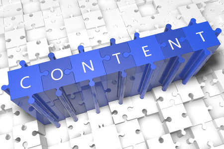 Content - puzzle 3d render illustration with block letters on blue jigsaw pieces  illustration