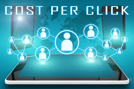 advertiser: Cost per Click - text illustration with social icons and tablet computer and mobile cellphones on cyan digital world map background